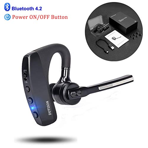 - DUTISON Bluetooth Headset V4.2 Single Ear Hands Free Earpiece with Dual Mic Active Noise Cancelling Bluetooth Cell Phones Earphone for Driving/Business/Office (Compatible for iOS Android)