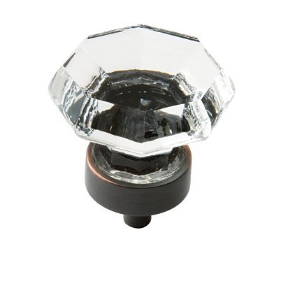 Crystal Amerock (Amerock Traditional Classics 1-5/16 in (33 mm) Diameter Clear/Oil-Rubbed Bronze Cabinet Knob)