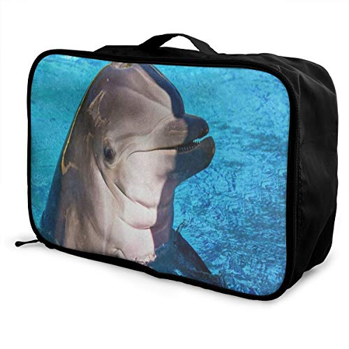 (Luggage Bag Travel Duffel Bag Waterproof Dolphin Fish Blue Water Ocean Lightweight Large Capacity Portable Storage Bag)