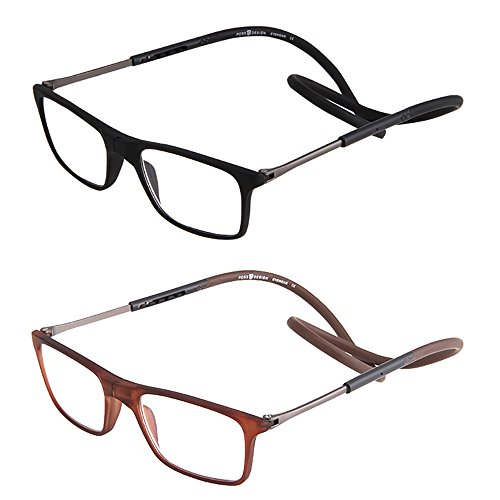 2 Pack Portable Folding Front Connect Expandable Reader Glasses for Women Men Reading, Hanging Around Neck (Black and brown, - For Long Face Glasses Men