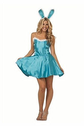Playboy Bunny Blue Costume (Honey Bunny w/ Ears - Satin Size Large Costume)