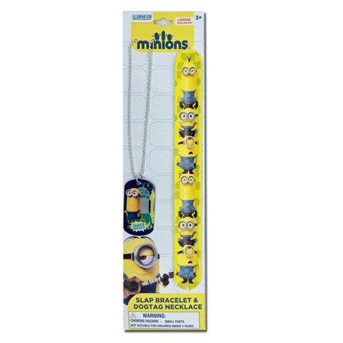 Disney Despicable Me Minions Dog Tag Necklace & Printed Rubber Slap Bracelet Set (Gru And Minions Costumes)
