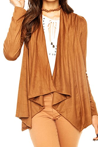 Pink Queen Womens Fall Soft Suede Cardigan Coat Jacket Outwear XL Brown (Suede Winter Coats For Women)