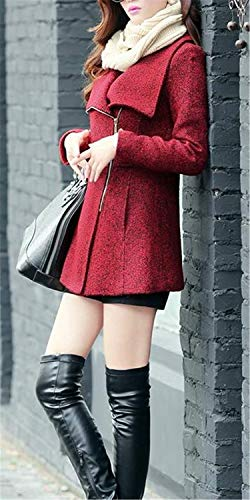 Invierno Cremallera Especial con Fit Exteriores Mujer Estilo Abrigo Slim Larga Manga Termica Otoño Abrigo Prendas Lana Chaqueta Outerwear Rot wpfYqvx