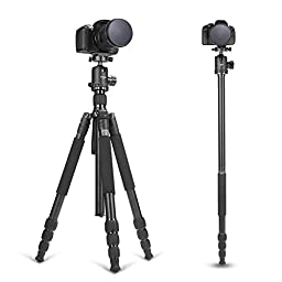 ZOMEI Z988 Professional Magnalium Complete Travel Tripod with Bubble Level and 360 Degree Rotation Ball Head for Canon Nikon Sony DSLR Camera,Camcorders(Black)