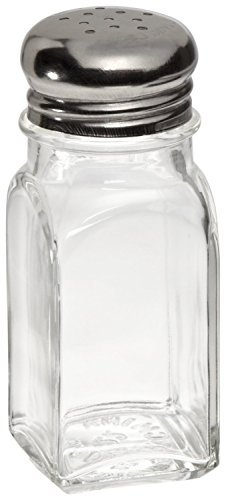 Adcraft MSQ-2 Square Mushroom Glass Salt and Pepper Shaker, 2 oz. Capacity, 4-Inch Height (Case of 12)