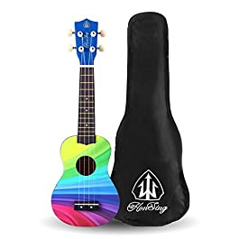Honsing Kids Ukulele,Soprano Ukulele Beginner,Hawaii kids Guitar Uke Basswood 21 inches with Gig Bag- Rainbow Color…
