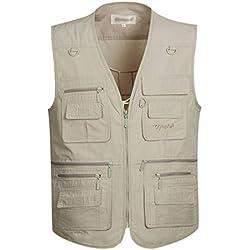 Gihuo Men's Summer Cotton Leisure Outdoor Pockets Fish Photo Journalist Vest Plus Size (Large, Beige)