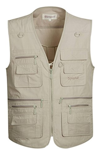 Gihuo Men's Summer Cotton Leisure Outdoor Pockets Fish Photo Journalist Vest Plus Size (Large, Beige)