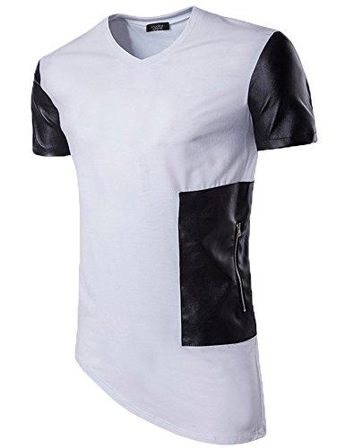 (Modfine Men's Fashion Hip hop Short Sleeve Tees Zipper Irregular with Pocket Summer T-Shirt Top(White,Small))