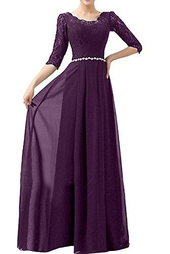 Abendkleider Braut Chiffon Langarm mia Rock La Damen Partykleider Ballkleider Blau Festlichkleider A Linie Traube YZxf5Fw