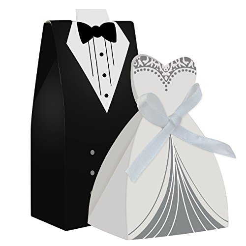 SZ 100 Pcs Laser Cut Candy Boxes Bags Bridal Groom Gift Cases Tuxedo Dress Gown Candy Box Wedding Favors And Gifts With Ribbon