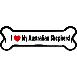 Imagine This Bone Car Magnet, I Love My Australian Shepherd, 2-Inch by 7-Inch 6