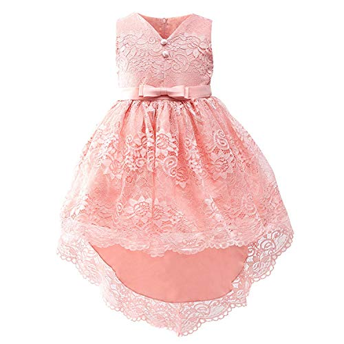 (Kids Girls Elegant Wedding Flower Girl Dress Princess Party Long Sleeveless,as)