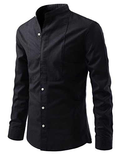 NEARKIN (NKNKS764) Mens Slim Fit Henly Neck Oriental chic casual Cotton Shirts BLACK US M(Tag size M)