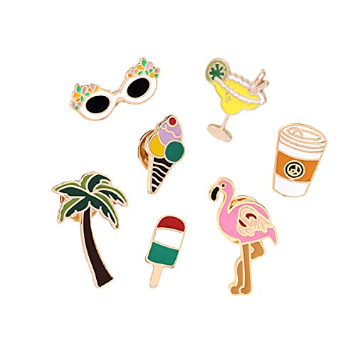 - Cute Enamel Lapel Pins Set Cartoon Animal Plant Floral Fruits Foods Brooches Pin Badges for Clothing Bags Backpacks Jackets Hat DIY (Flamingo coconut tree glass ice cream set of 7)