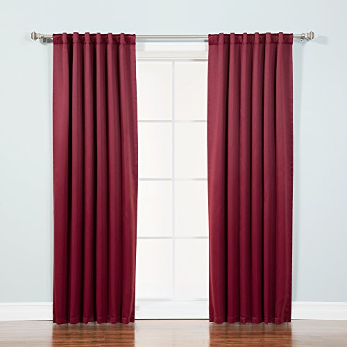 Best Home Fashion Thermal Insulated Blackout Curtains - Back Tab/ Rod Pocket - Burgundy - 52