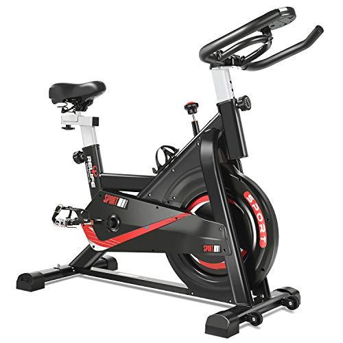 🥇 RELIFE REBUILD YOUR LIFE Bicicleta de Ejercicio Bicicletas Estáticas Ciclismo Fitness Estacionaria Volante de Inercia con Resistencia Pantalla LCD para Gimnasio Cardio Workout Máquina Entrenamiento