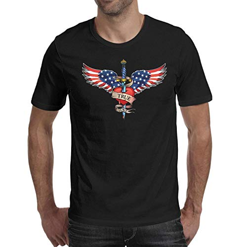 Casual Mens Tee Breathable Short Sleeve Premium Pattern Cotton Tourism USA Flag Wing and Heart Black Men's T-Shirts tee