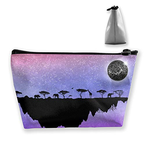 Casual Make Up Bag Travel Bag, Pace Elephant Giraffe Moon Island Purple Cosmetic Train Case Organizer Large Capacity Carry On Bag, Luggage Pouch, Makeup Pouch] for Women Girls Ladies