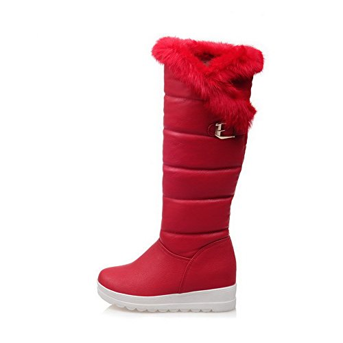 Allhqfashion Women's Buckle High-Heels PU Solid High-top Boots Red oWHeK7G