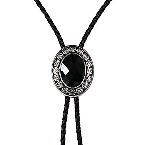 Bolo tie for men,Black Native American western cowboy neckties (black)