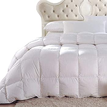 Royal Hotel Down Comforter, Hypoallergenic Down Comforters, Light and Buffy, 100% Cotton Striped Shell, Medium Warmth, Duvet Insert, Oversized King