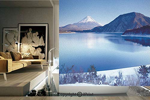 Ylljy00 Decorative Privacy Window Film/Fuji Mountain in Winter Season Snowy Hills and Mountain Top Japan Photography Print/No-Glue Self Static Cling for Home Bedroom Bathroom Kitchen Office Decor