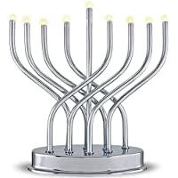 Aviv Judaica 9660 Highly Polished Chrome Plated Battery Operated LED Menorah, Gray