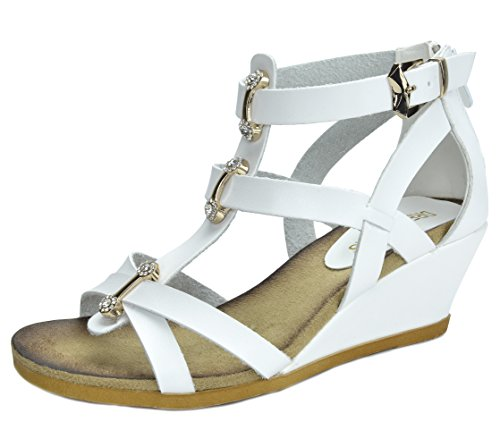 DREAM PAIRS Mulan Womens Gladiator Adjustable Buckles Straps Low Wedge Back Zipper Summer Sandals White Size 5.5