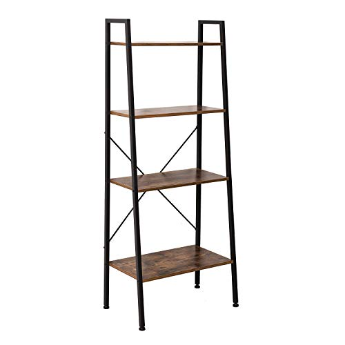 IRONCK Bookshelf, 4-Tier Ladder Shelf, Storage Shelves Rack Shelf Unit, Wood Look Accent Furniture Metal Frame, Vintage Home Office Furniture for Bathroom, Living Room, Rustic Brown ()
