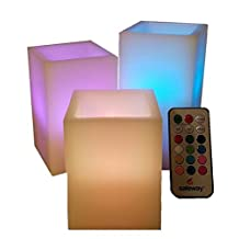 """Safeway Candlelites - 3 Square LED Candle Lights, Weatherproof Outdoor and Indoor Color Changing 4"""" 5"""" 6"""" with Remote Control & Timer Vanilla Scented, Flameless, Flickering Flame, Smooth Real Wax"""