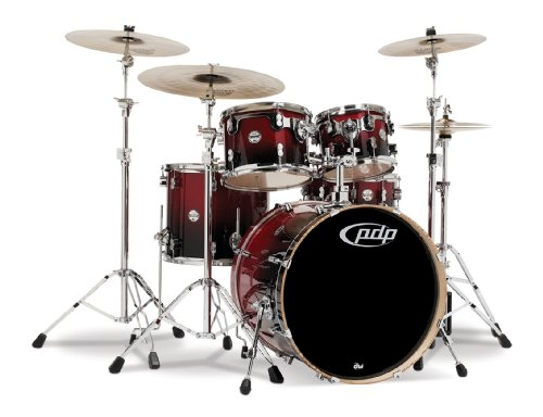 Pacific Drums PDCB2215CB Concept Series 5-Piece Drum Set - Cherry to Black Fade - Black Pacific Tom Drum