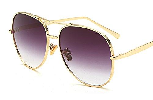 Vintage Retro Oversized Aviator Sunglasses Gold Metal Gradient Lens Round Shape (Gold/Black, - Aviators Black Gradient