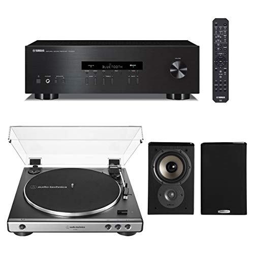 Yamaha R-S202 Bluetooth Stereo Receiver with Audio-Technica AT-LP60X Automatic Belt-Drive Stereo Turntable (Gunmetal) and Polk TSi100 Bookshelf Speakers - Pair (Black)