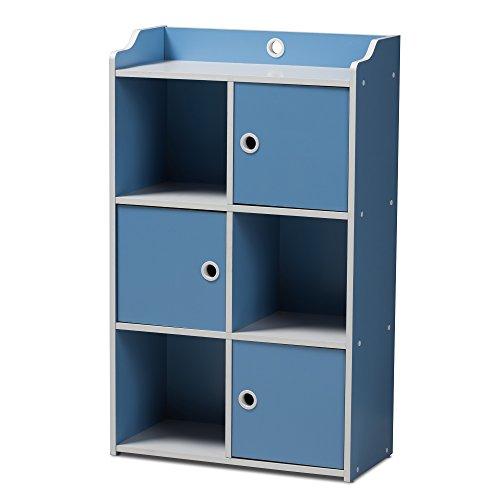 Bookcase Cabinet Mission Brown (Svitlife Contemporary Blue and White 3-Door Bookcase 3 Door Shelf Storage Brown Iris Wood Pasir Tier Round Handle Light Cherry)