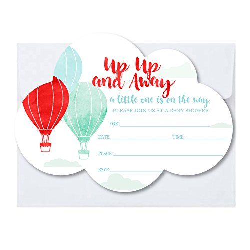 up up Away Hot Air Balloons Cloud Shaped Invitations with Envelopes 25 Pack A7 5x7 in Blue Red Watercolor Print for First Birthdays, Adventure Awaits (25)]()