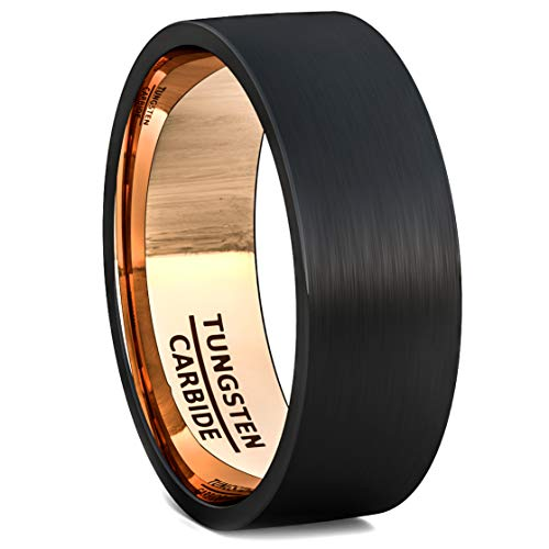 Duke Collections Mens Wedding Band Black Tungsten Ring 8mm Rose Gold Inside Matted Brushed Flat Edge Comfort Fit(10)