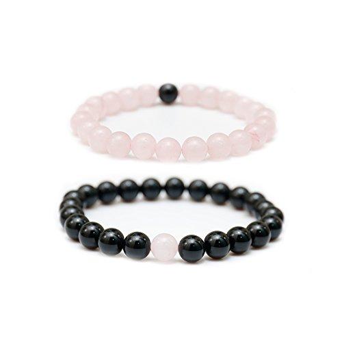 Agate Quartz Bracelet (ASHMITA Natural Gemstone 8MM Couple Distance Round Beads Chakra Balancing Stretch Bracelet (2 pcs))