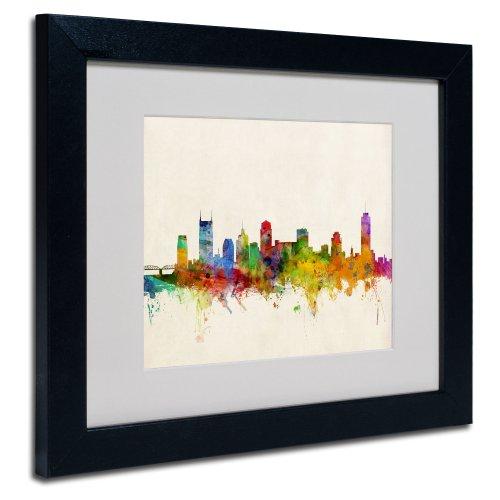 Nashville Skyline By Michael Tompsett  White Matte  Black Frame 11X14 Inch