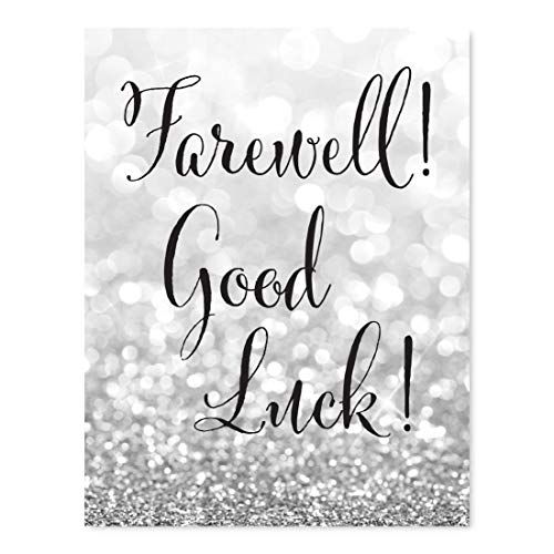 Andaz Press Retirement Party Signs, Glitzy Silver Glitter, 8.5x11-inch, Farewell! Good Luck!, 1-Pack