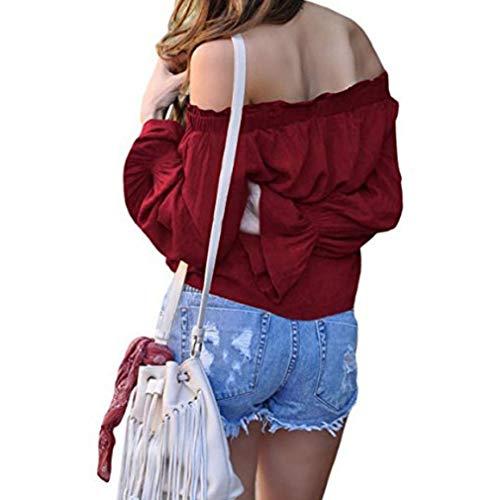 Rouge Styles Vin paules Un Dnudes Pure Rayures Chemise Collier Chemisier Manchon 13 Mousseline Couleur Shirt Soie t Cloche T Mot Femmes pw4ABx