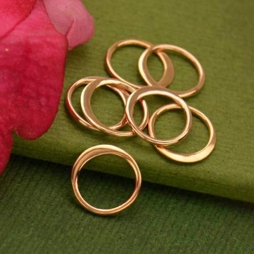 Hammered Circle Links Rose Gold Plated Sterling Silver 9mm - 1Pc ()