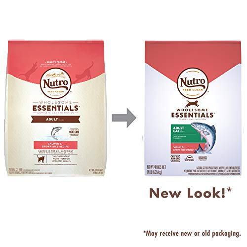 NUTRO WHOLESOME ESSENTIALS Adult Natural Dry Cat Food Salmon & Brown Rice Recipe, 14 lb. Bag