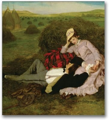 picture of Trademark Fine Art The Lovers 1870 by Pal Szinyei Merse Canvas Wall Art, 24x24-Inch