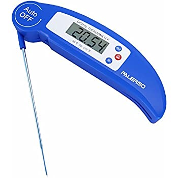 Palermo Instant Read Digital Cooking Thermometer with Collapsible Internal Probe - Blue