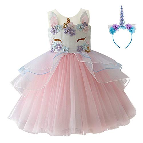 Kids Girls Flower Tulle Birthday Unicorn Mythical Costume Cosplay Pageant Tutu Princess Dress up Teen Cute Unicorn Headband Halloween Party Gown Outfits 12-18 Months (Pink, 90) ()