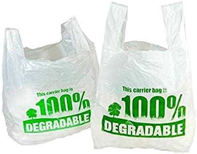 grands sacs en plastique respectueux de lenvironnement plastique blanc//vert 11 x 17 x21 Sacs de transport 100 /% d/égradables blancs de 28 x 43 x 53 cm