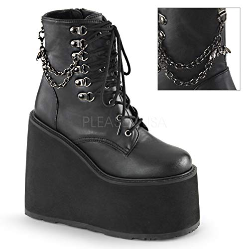 Demonia Women's Swi101/Bvl Combat Boot, Black Vegan Leather, 6 M US
