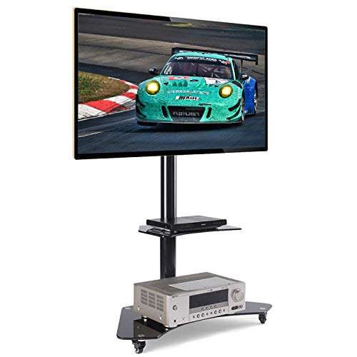"""Price comparison product image Rfiver Mobile TV Floor Stand / Cart with Shelves and Lockable Caster Wheels for Most of 32""""-65"""" TVs, Curved Glass TV Floor Stand with Swivel Mount Bracket and Height Adjustment TF4001"""